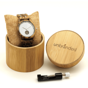 zebrawood and stainless steel wooden watch in a bamboo box with link resizing tool