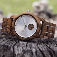 Load image into Gallery viewer, zebrawood and stainless steel wooden watch with subdial