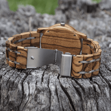 Load image into Gallery viewer, zebrawood wooden watch with open stainless steel back closure