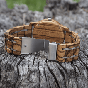 zebrawood wooden watch with open stainless steel back closure