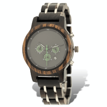Load image into Gallery viewer, ebony, zebrawood, and stainless steel watch with three subdials