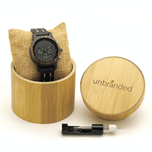 ebony, zebrawood, and stainless steel watch in a bamboo gift box with link resizing tool