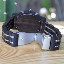 Load image into Gallery viewer, open stainless steel closure on ebony watch