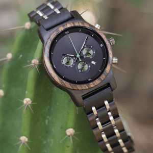 ebony, zebrawood, and stainless steel wooden watch on a catcus