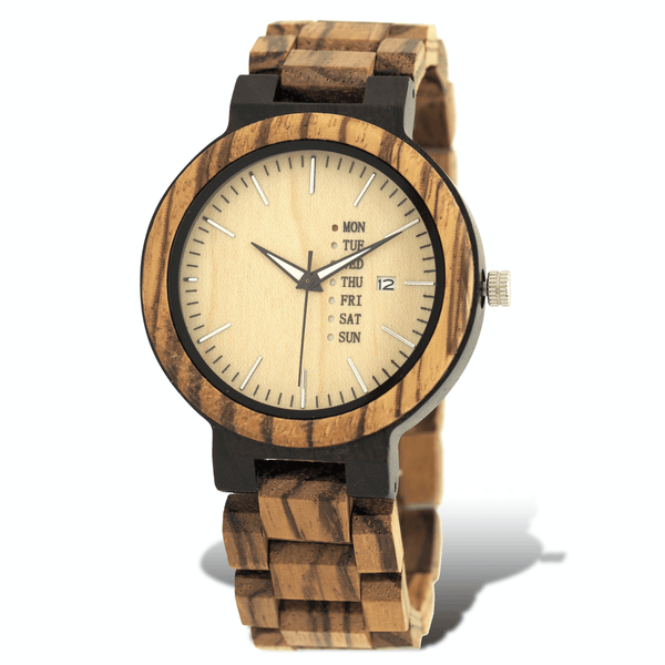 Ebony, zebrawood, and maple wooden watch with calendar and date window