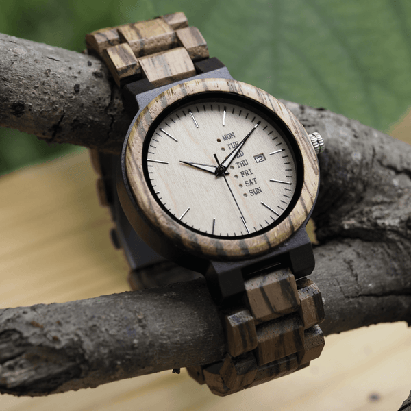 Wooden watch in Unbranded USA gift box with link resizing tool