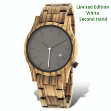 Load image into Gallery viewer, Zebrawood unisex wooden watch with limited edition white second hand