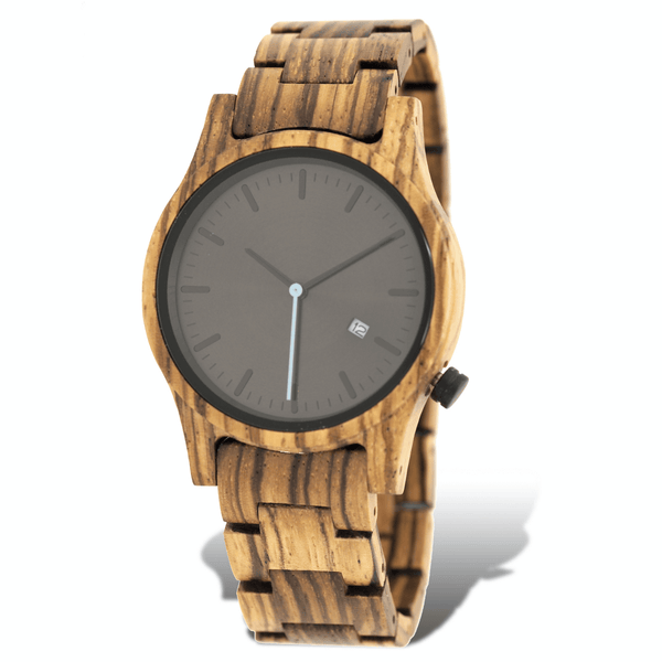 Zebrawood unisex wooden watch with black dial and blue second hand
