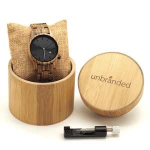 Zebrawood wooden watch in a bamboo Unbranded gift box with link adjustment tool