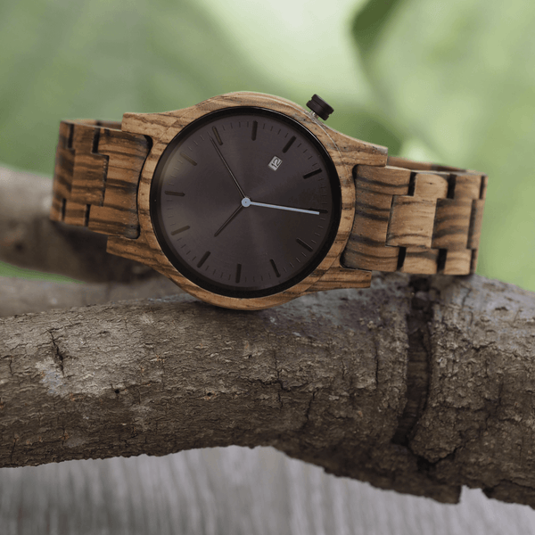 Zebrawood unisex wooden watch with limited edition white second hand