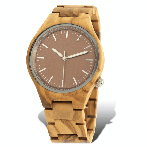 Zebrawood wooden watch with red brown dial