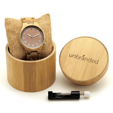 Load image into Gallery viewer, Zebrawood wooden watch in bamboo gift box with link adjustment tool