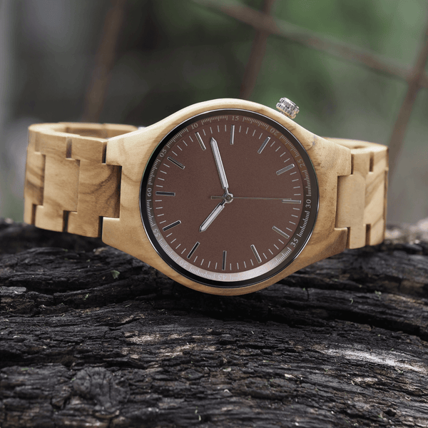 Zebrawood wooden watch in bamboo gift box with link adjustment tool