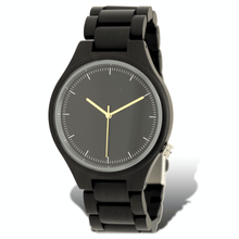 Load image into Gallery viewer, Polished ebony wooden watch with black dial