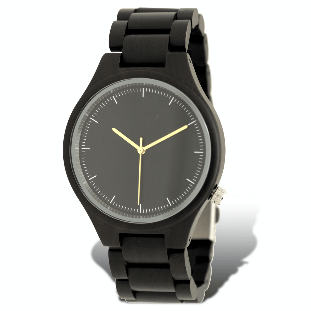 Polished ebony wooden watch with black dial