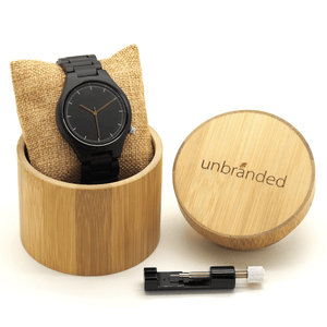 Ebony watch in a bamboo Unbranded USA box with link adjustment tool