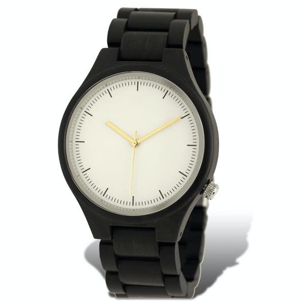 Polished ebony wooden watch with white dial