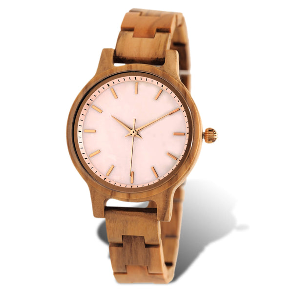 Olive wood watch with pink sea shell face and gold accents