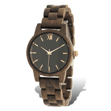 Load image into Gallery viewer, Walnut wooden watch with rose gold accents