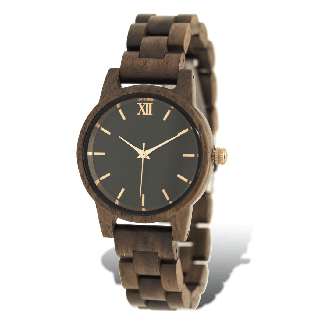 Walnut wooden watch with rose gold accents