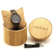 Load image into Gallery viewer, Walnut wooden watch in Unbranded bamboo box with link resizing tool