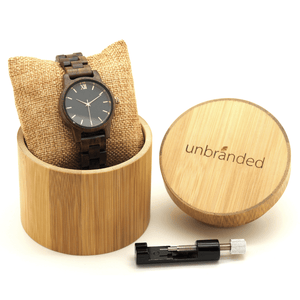 Walnut wooden watch in Unbranded bamboo box with link resizing tool