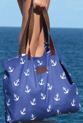 Anchors Ahoy Cotton Beach Bag KVBBAN