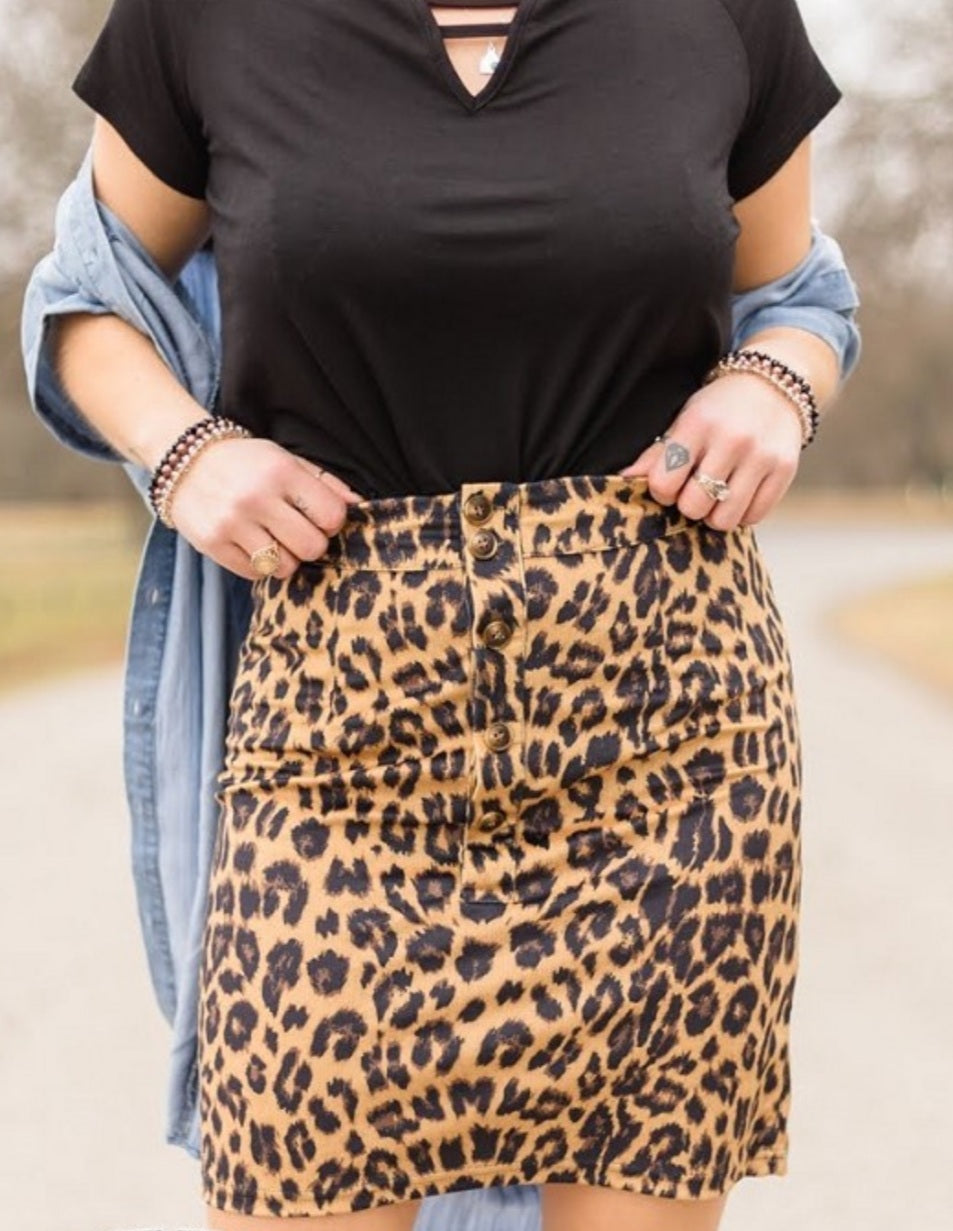 Ally Cat Leopard Skirt