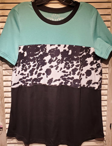 Color Blocked Cow Top