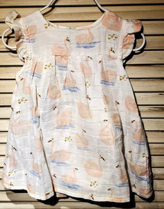 2pc Muslin Swan Dress w/bloomers