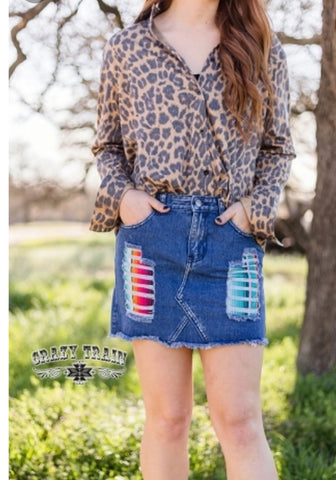 Lollipop Serape Jean Skirt