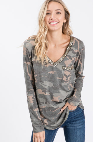 Camo with V-neck & Sequins