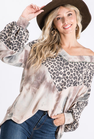 Mix Leopard & Tie Dye Top