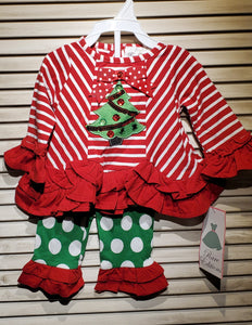 Red Stripe Christmas Tree Ruffle Legging Set