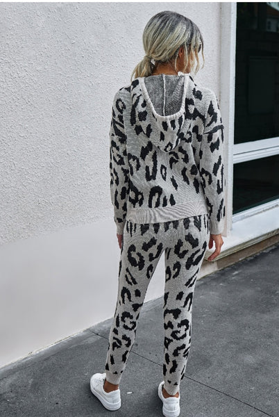 Leopard Hoody Long Pant Set