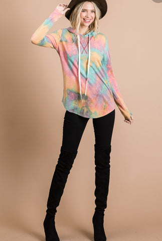 Tie Dye Hooded Sweat
