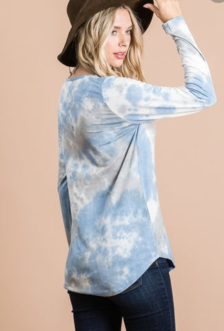Tie Dye V-Neck w/sequins Top