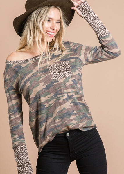 Camo with Leopard pkt top