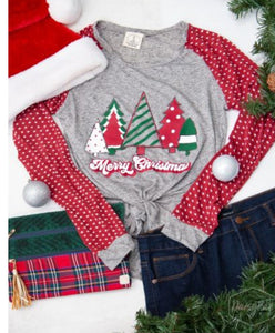 Merry Christmas on Grey Long Sleeve Tee w/ Polka Dot Sleeve