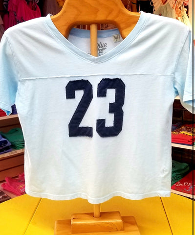 Crop V neck 23 baseball style tee