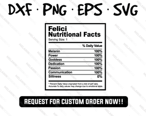 Felici - Nutritional Facts Kids Birthday Party T-Shirt Theme Idea Inspired SVG PNG EPS DXF free vector