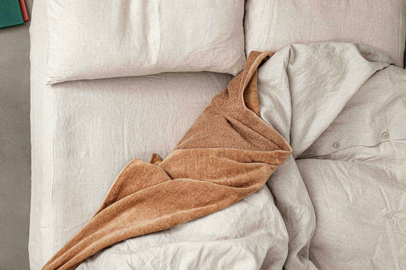 Raw brown cotton throw blanket