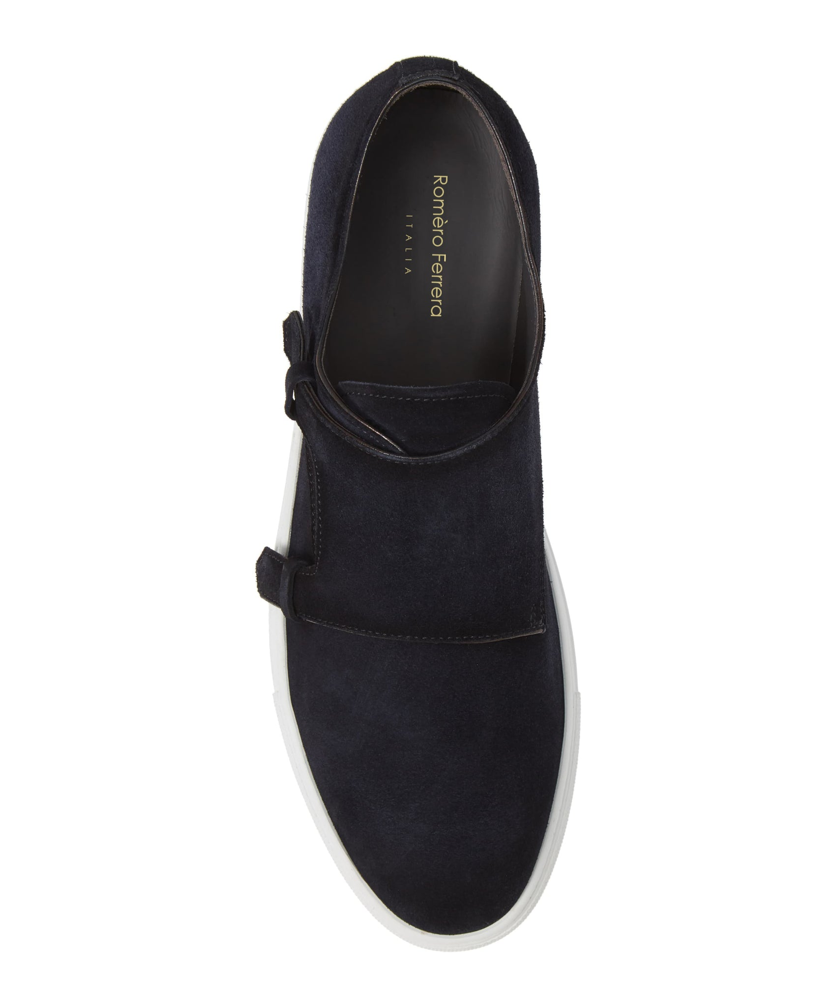 Navy Blue Burnished Suede Leather Monk Strap Slip-on Sneaker for Men. White Comfortable Cup Sole.