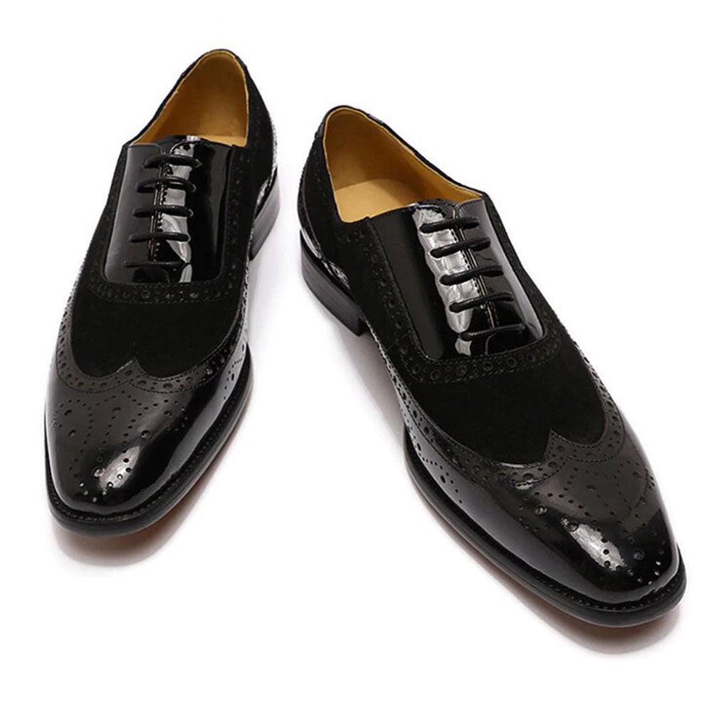 Black Patent Leather Suede Formal Wingtip Oxford Brogue Lace Up Shoes for Men. Manmade Comfortable Sole. Customization Available.