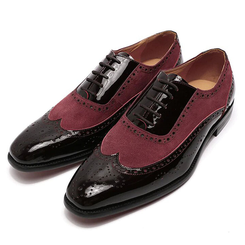 Black Patent Leather Burgundy Suede Formal Wingtip Oxford Brogue Lace Up Shoes for Men. Manmade Comfortable Sole. Customization Available.