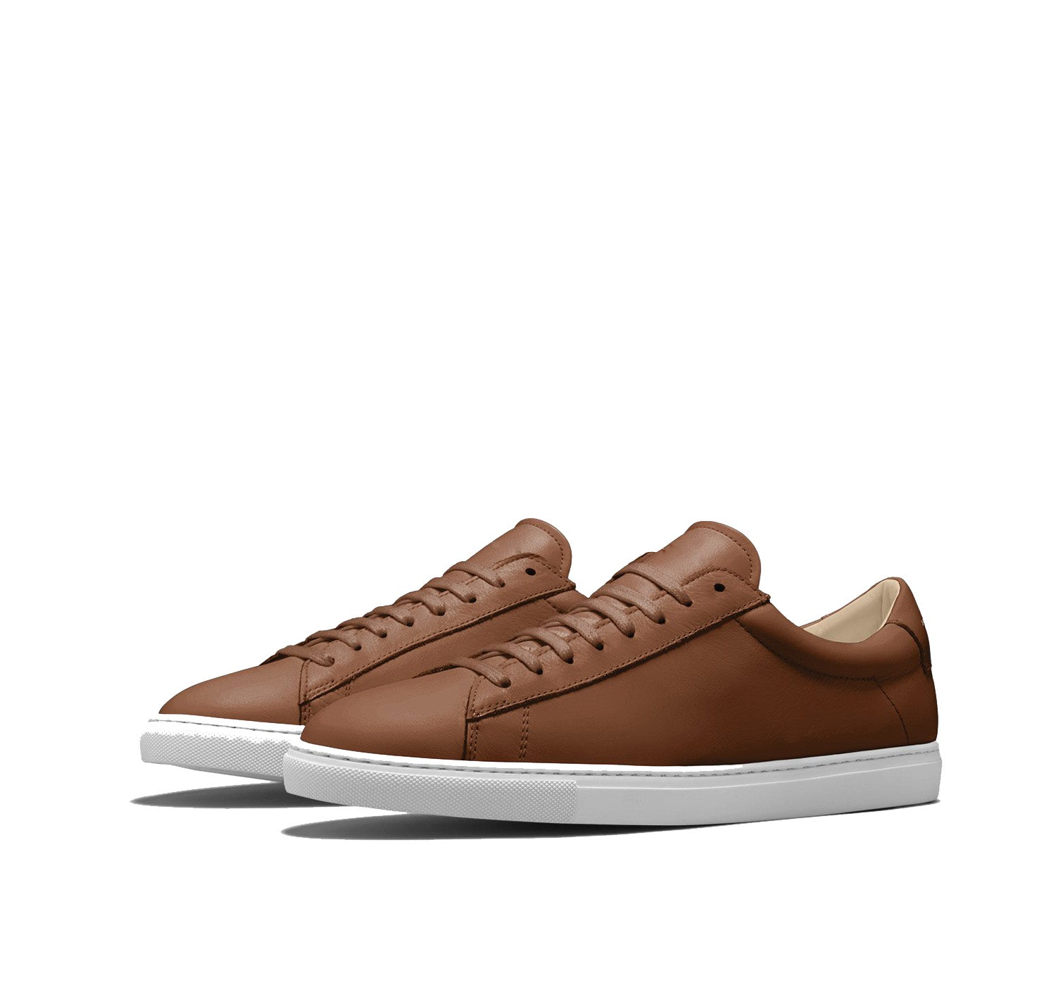 Brown Tan Leather Low Top Lace Up Sneaker for Men. White Comfortable Cup Sole.