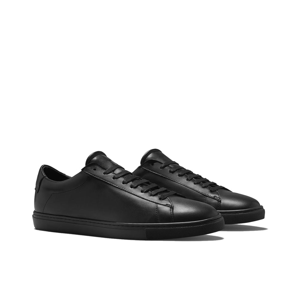 Black Leather Low Top Lace Up Sneaker for Men. Black Comfortable Cup Sole.
