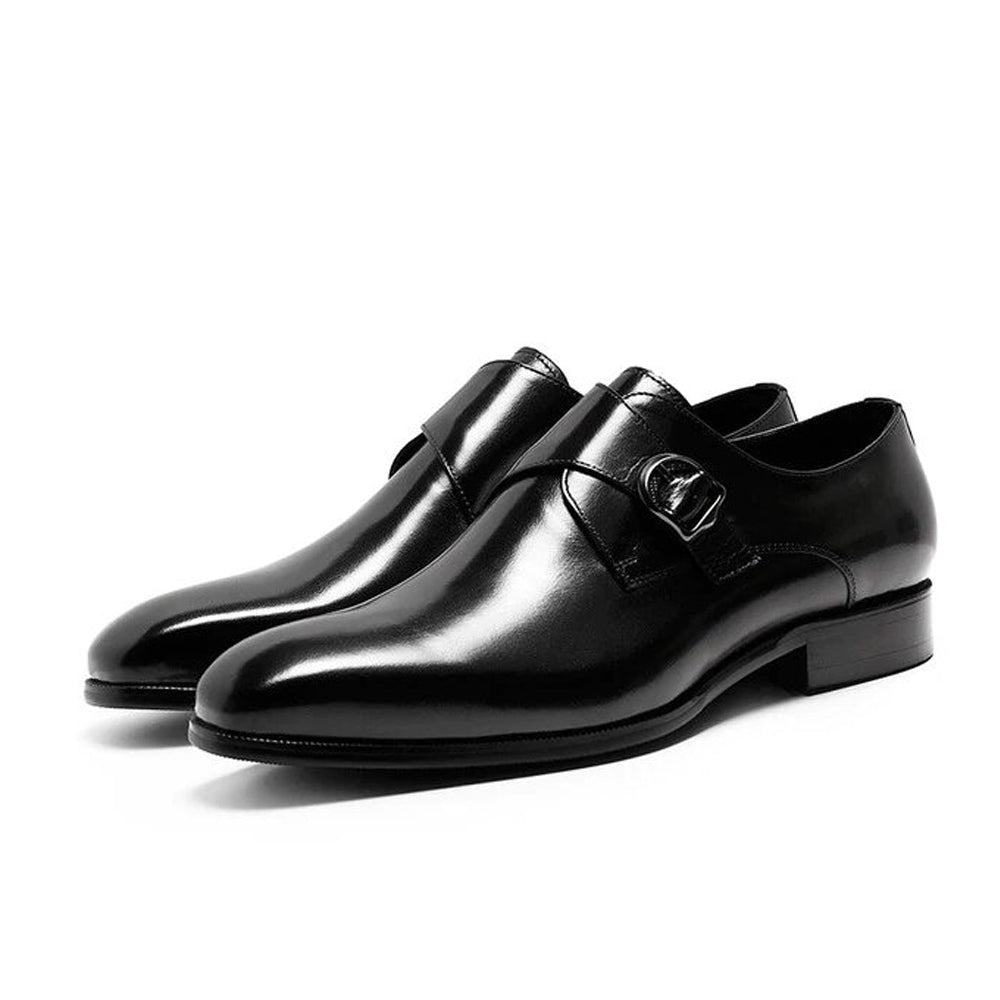 Hemsworth Black Single Monk Strap - Romèro Ferrera