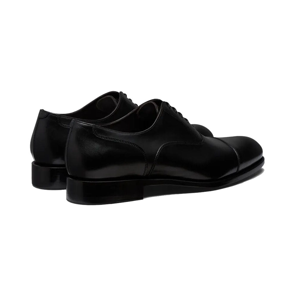 Black Leather Formal Oxford Toe Cap Lace Up Shoes for Men. Manmade Comfortable Sole. Customization Available.