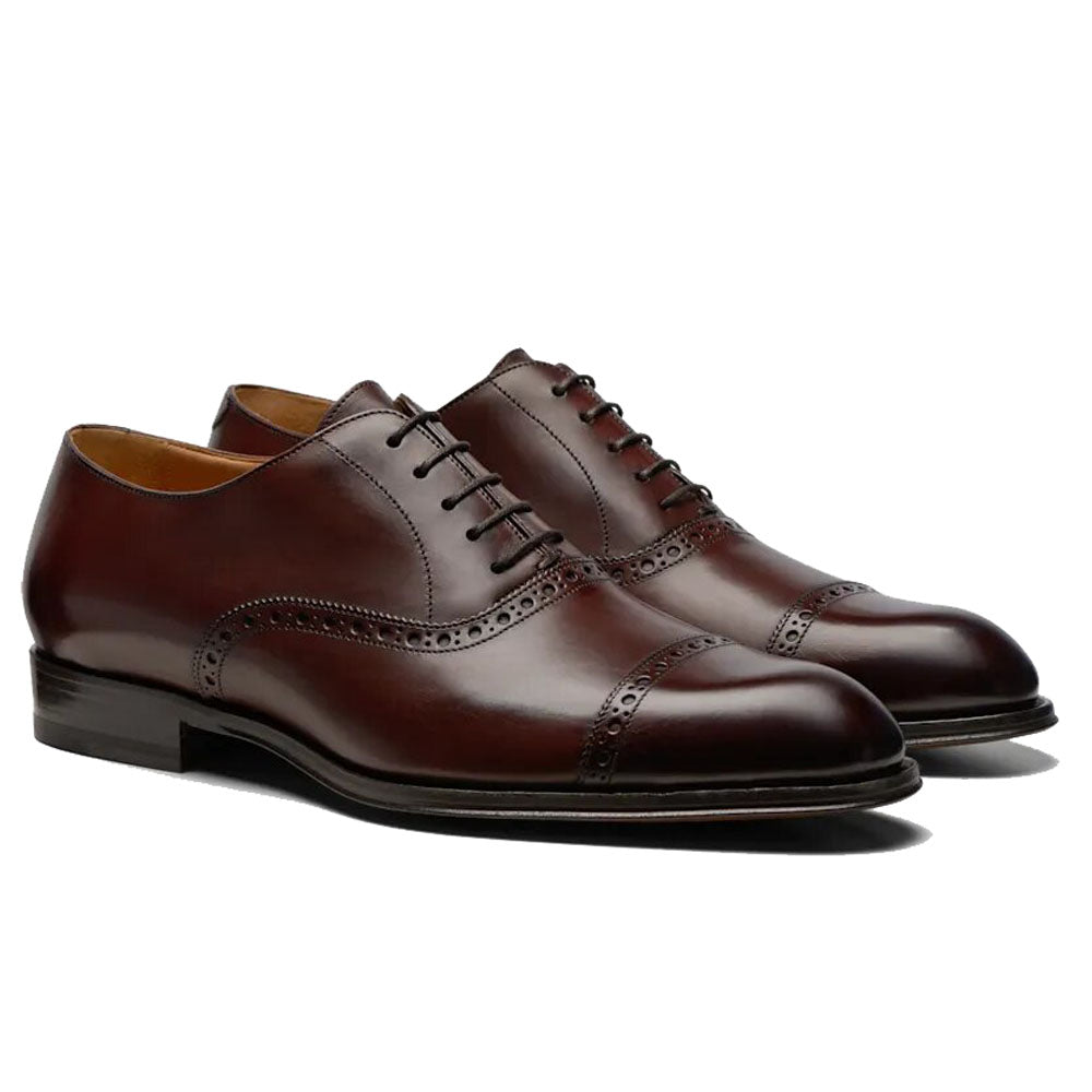 Brown Leather Formal Toe Cap Oxford Brogue Lace Up Shoes for Men. Manmade Comfortable Sole. Customization Available.